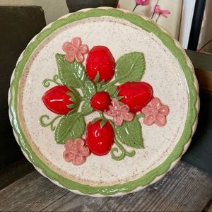 Vintage Ceramic Strawberry Floral Baking Mold Wall